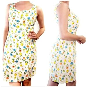 Vintage floral fitted shaped sleeveless dress